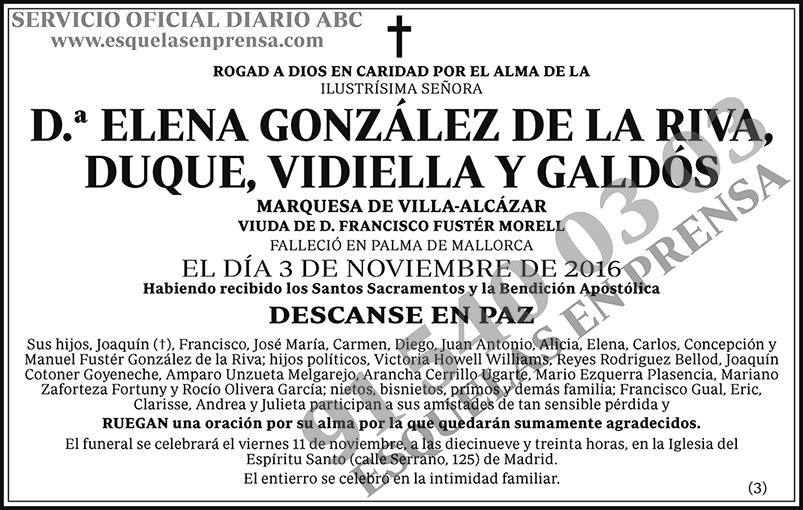 Elena González de la Riva, Duque, Vidiella y Galdós
